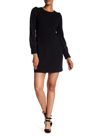 Imbracaminte Femei Modern American Designer Embellished Long Sleeve Dress BLACK