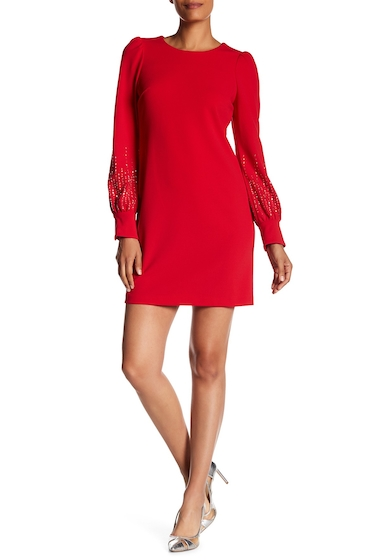 Imbracaminte Femei Modern American Designer Embellished Long Sleeve Dress RED
