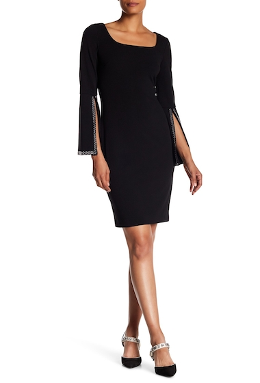 Imbracaminte Femei Modern American Designer Wide Sleeve Embellished Dress BLACK
