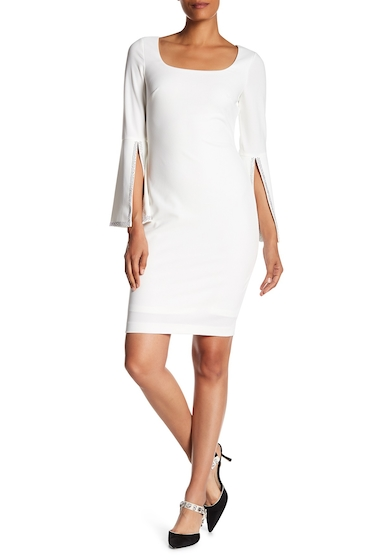 Imbracaminte Femei Modern American Designer Wide Sleeve Embellished Dress CREAM