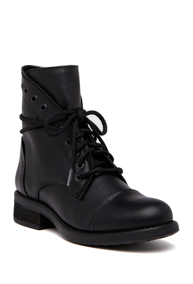 Incaltaminte Femei Steve Madden Dorrie Zip Lace-Up Leather Boot BLACK LEAT