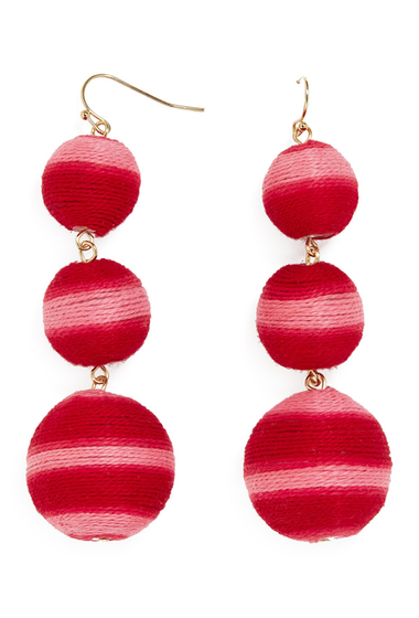 Bijuterii Femei BAUBLEBAR Concordia Crispin Ball Triple Drop Earrings RED-PINK STRIPED