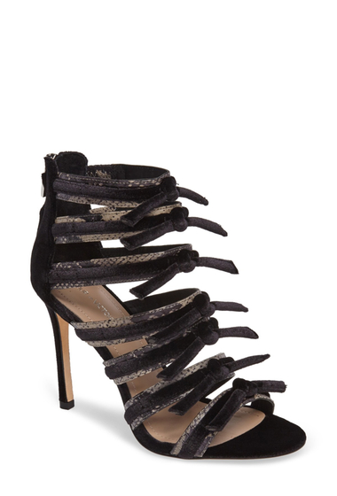 Incaltaminte Femei Pour La Victoire Elsie Velvet Genuine Watersnake Strappy Sandal BLACK