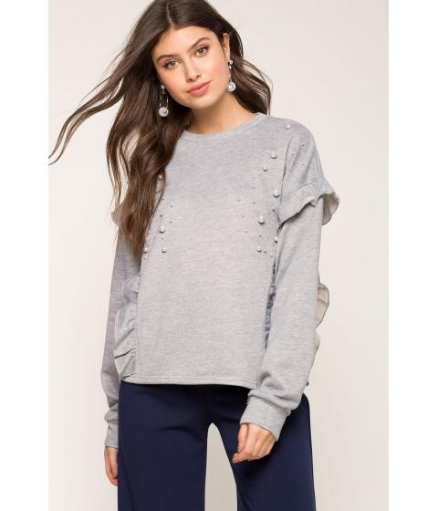 Imbracaminte Femei CheapChic Pearl Trim Ruffle Sweatshirt Gray