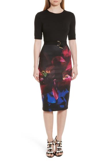 Imbracaminte Femei Ted Baker London Alaxane Impressionist Body-Con Dress BLACK
