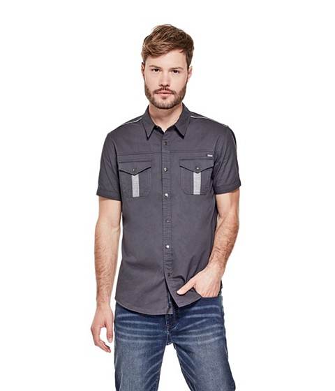 Imbracaminte Barbati GUESS Gerardo Ripstop Shirt graphite