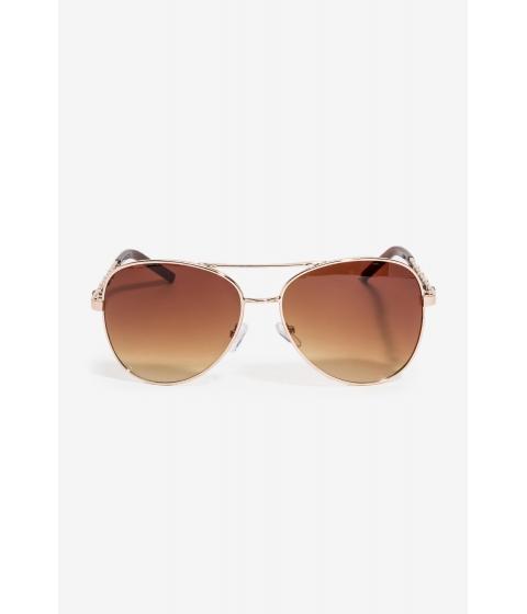 Ochelari Femei CheapChic Essential Faux Leather And Chain Aviator Brown