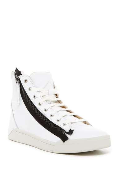 Incaltaminte Barbati Diesel Tempus Diamzip Leather High-Top Sneaker WHITE