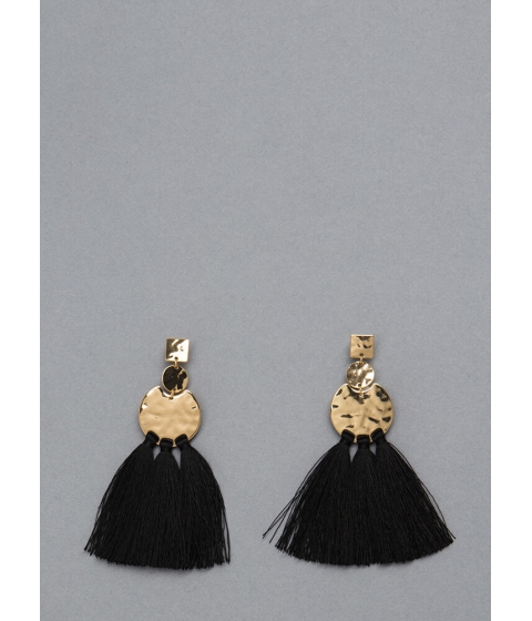 Bijuterii Femei CheapChic Tassel Fan Hammered Plate Earrings Black