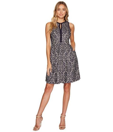 Imbracaminte Femei Vince Camuto Lace Sleeveless Fit amp Flare Dress w Piping Navy