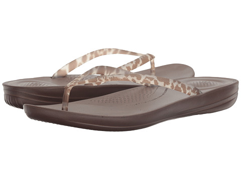 Incaltaminte Femei FitFlop Iqushion Ergonomic Flip-Flop Chocolate Leopard