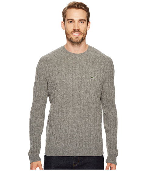 Imbracaminte Barbati Lacoste Cable Stitch Wool Sweater with Green Croc - New Cable Pattern Stone Chine