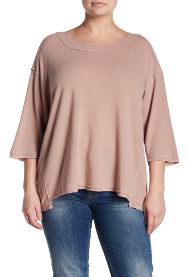 Imbracaminte Femei H By Bordeaux 34 Length Sleeve Boxy Hacci Top Plus Size MAUVE