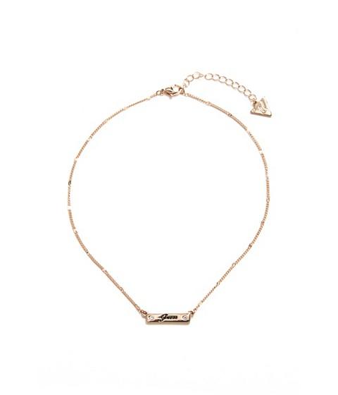 Bijuterii Femei GUESS Gold-Tone Logo Name-Plate Necklace gold
