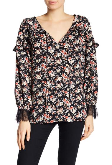 Imbracaminte Femei Pleione Floral Ruffle Poet Blouse BLACK ROSE FLRL