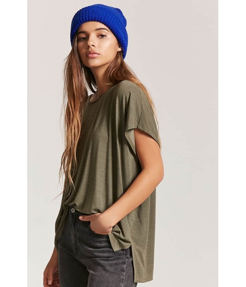 Imbracaminte Femei Forever21 High-Low Striped Tee OLIVEWHITE