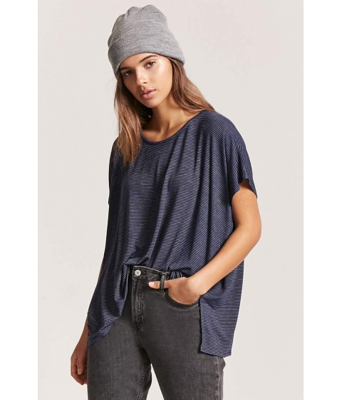 Imbracaminte Femei Forever21 High-Low Striped Tee NAVYWHITE