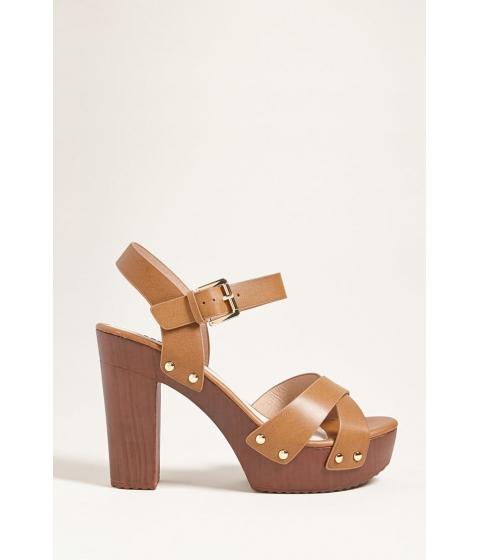 Incaltaminte Femei Forever21 Crisscross Faux Leather Platform Heels CAMEL