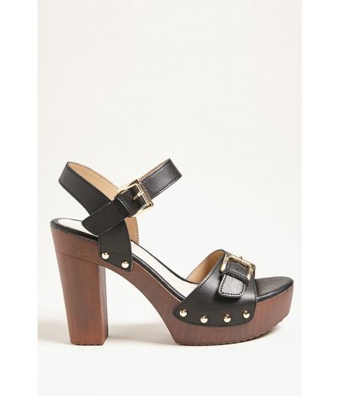 Incaltaminte Femei Forever21 Buckle Faux Leather Platform Heels BLACK