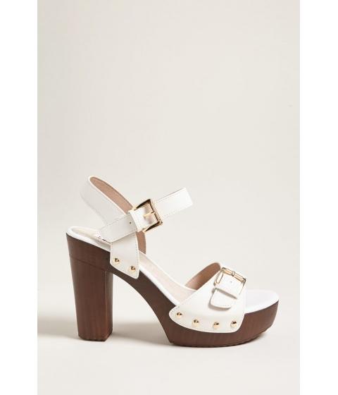 Incaltaminte Femei Forever21 Buckle Faux Leather Platform Heels WHITE