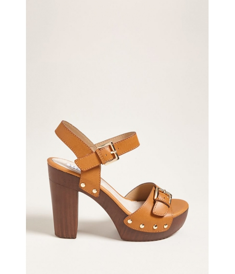 Incaltaminte Femei Forever21 Buckle Faux Leather Platform Heels TAN