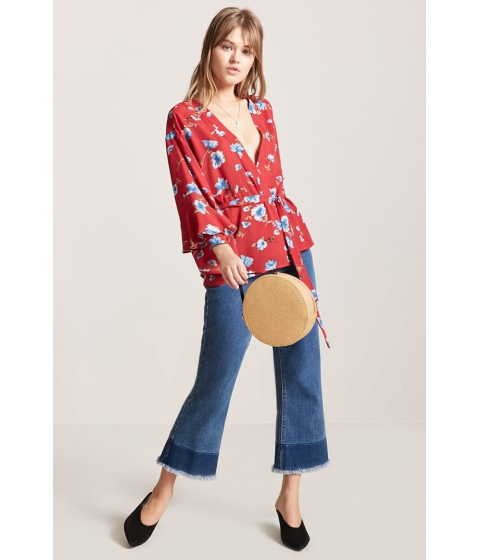 Imbracaminte Femei Forever21 Plunging Floral Top REDBLUE