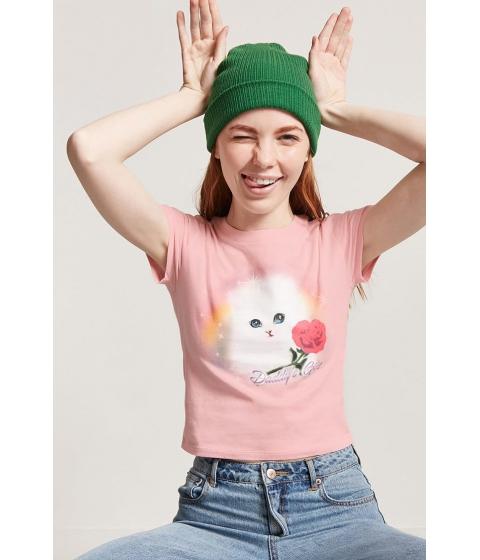 Imbracaminte Femei Forever21 Laser Kitten Graphic Tee PINKWHITE