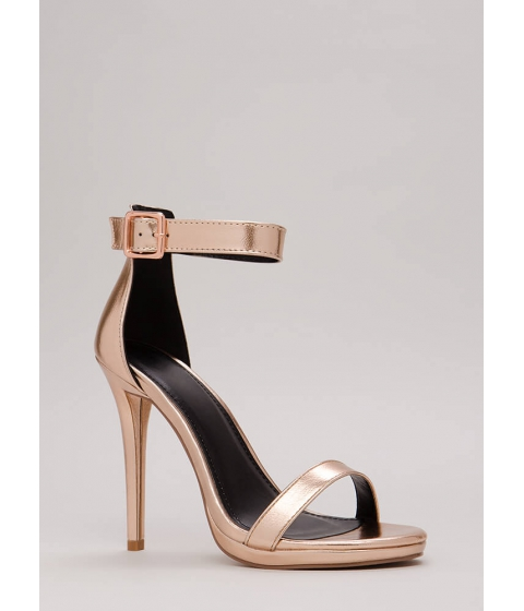 Incaltaminte Femei CheapChic Simple Solution Strappy Metallic Heels Rosegold