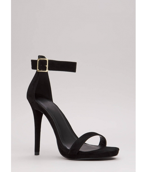 Incaltaminte Femei CheapChic Simple Solution Strappy Faux Suede Heels Black