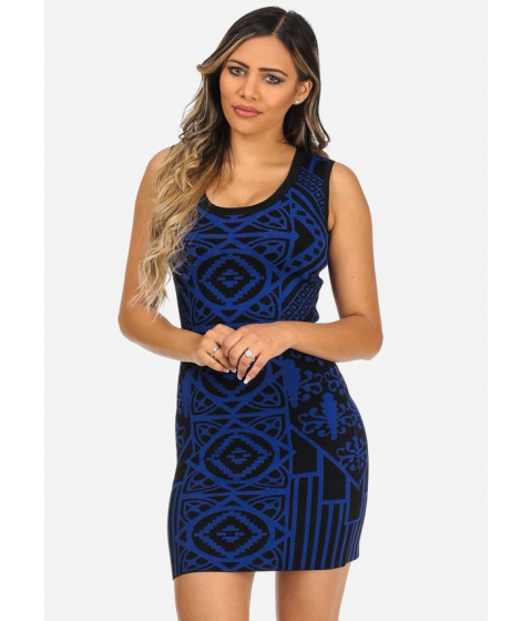 Imbracaminte Femei CheapChic Black and Blue Sleeveless All-Over Printed Slim Above Knee Dress Multicolor