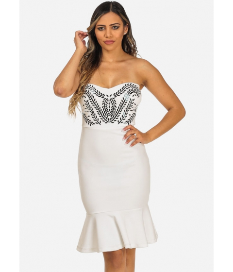 Imbracaminte Femei CheapChic Evening Wear White Strapless Silver Details Ruffled Hem Dress Multicolor