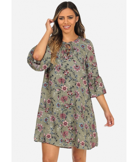 Imbracaminte Femei CheapChic Floral Print Angel Sleeve Loose Fit Sage Lace Up Neckline Dress Multicolor