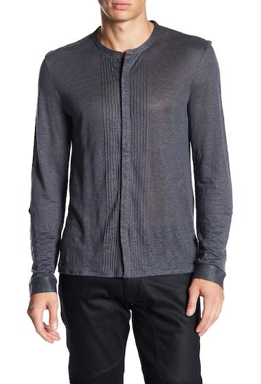 Imbracaminte Barbati John Varvatos Collection Long Sleeve Jersey Pintuck Linen Trim Fit Shirt METAL BLAC