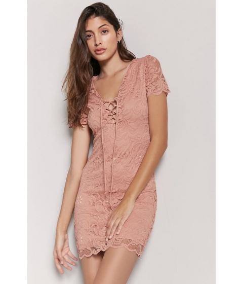 Imbracaminte Femei Forever21 Lace-Up Lace Dress MAUVE