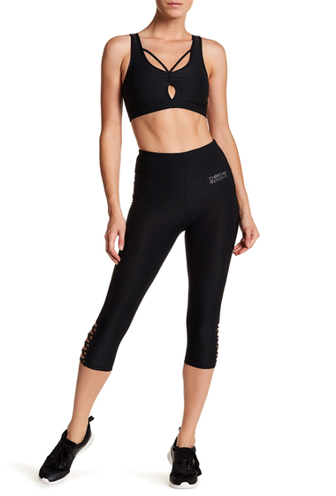 Imbracaminte Femei Bebe Caged Cropped Leggings BLACK