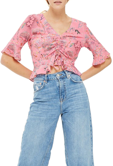 Imbracaminte Femei TOPSHOP Ruby Magical Leopard Ruched Blouse PINK MULTI