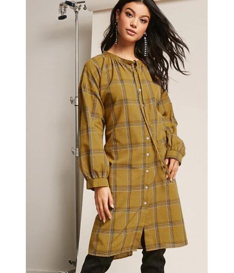 Imbracaminte Femei Forever21 Plaid Shirt Dress MUSTARD