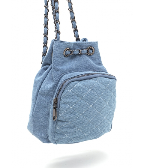 Accesorii Femei CheapChic Style Genius Quilted Denim Mini Backpack Ltblue