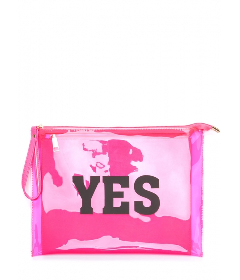 Accesorii Femei CheapChic Yes Or No Flat Zippered Clutch Neonpink