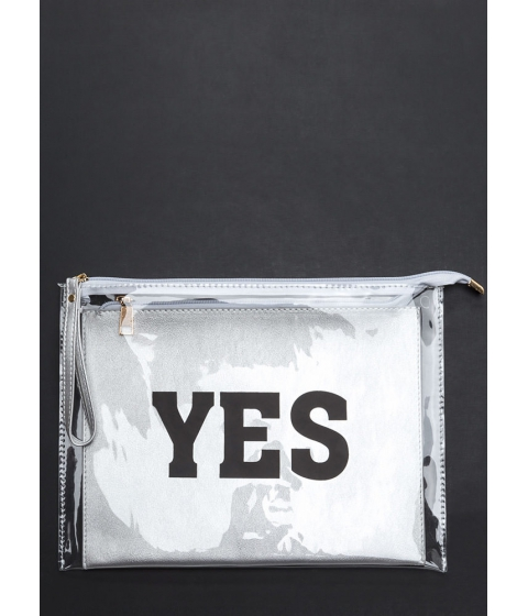 Accesorii Femei CheapChic Yes Or No Flat Zippered Clutch Silver