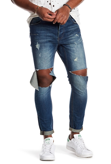 Imbracaminte Barbati One Teaspoon Lightly Distressed Knee Cut Out Denim Jean ANCHORAGE