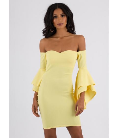 Imbracaminte Femei CheapChic Drama Off-shoulder Ruffle Sleeve Dress Yellow