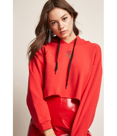 Imbracaminte Femei Forever21 Fleece Rose Graphic Hoodie RED