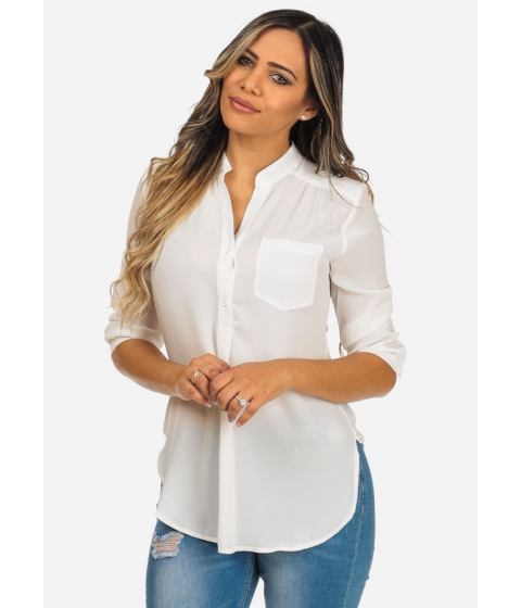 Imbracaminte Femei CheapChic Lightweight Solid White 34 Sleeve V-Neck One Pocket Evening Top Multicolor