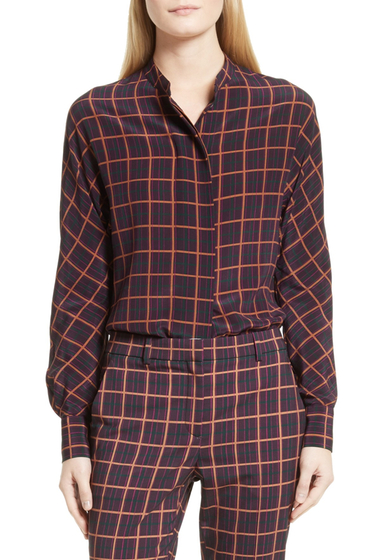 Imbracaminte Femei Theory Plaid Dolman Sleeve Silk Blouse PRPLE MLTI