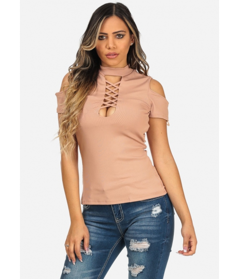 Imbracaminte Femei CheapChic Nude Color Cold Shoulder Short Sleeve Lace Up Neck Slim Fit Top Multicolor