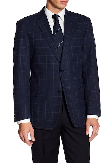 Imbracaminte Barbati Tommy Hilfiger Ethan Windowpane Wool Blend Classic Fit Sportscoat NAVY PANE