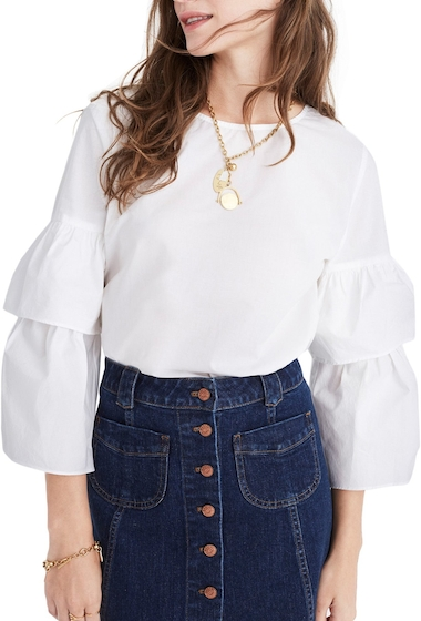 Imbracaminte Femei Madewell Tiered Sleeve Poplin Top BRIGHT IVORY