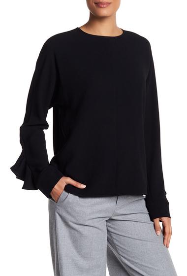 Imbracaminte Femei Tibi Ruffle Sleeve Crepe Blouse BLACK