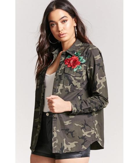 Imbracaminte Femei Forever21 Embroidered Rose Camo Jacket OLIVEBLACK